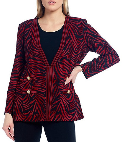 Ming Wang Long Sleeve Zebra Print Button Detail Jacket