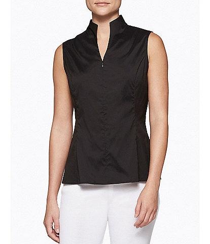Ming Wang Mandarin Collar Sleeveless Zipper Front Cotton Blend Washable Blouse