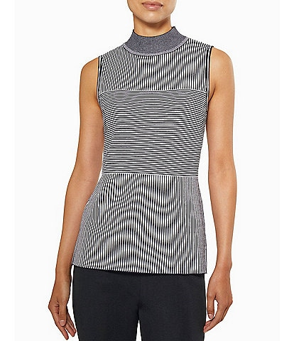 Ming Wang Mock Neck Sleeveless Multi Stripe Tank