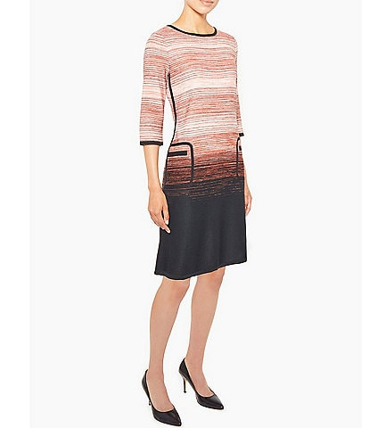 Ming Wang Ombre Stripe 3/4 Sleeve Knit Dress with Pockets