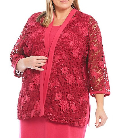 Ming Wang Plus Size 3/4 Sleeve Lace Front Embroidery Jacket