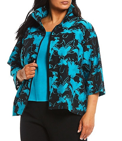 Ming Wang Plus Size 3/4 Sleeve Puff Collar Floral Jacket