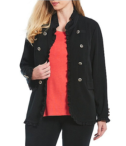 Ming Wang Plus Size Double Button Ruffle Trim Jacket