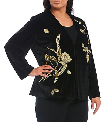 Ming Wang Plus Size Embroidered Velvet Jacket