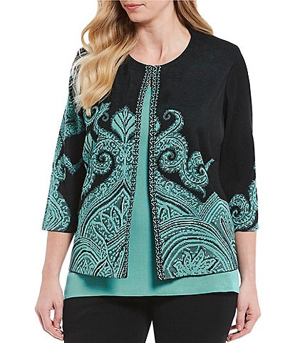 Ming Wang Plus Size Jewel Neck Patterned Jacket
