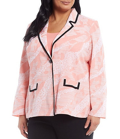 Ming Wang Plus Size Long Sleeve Abstract Animal One Button Blazer