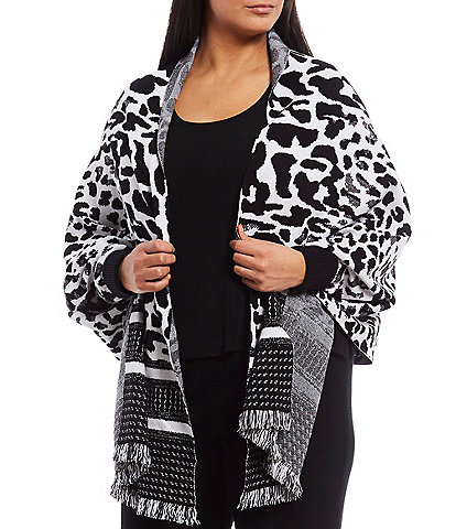 Ming Wang Plus Size Long Sleeve Animal Print Fringe Hem Sweater Wrap