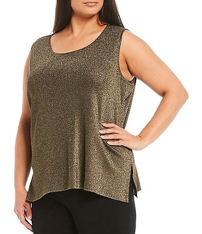 Ming Wang Plus Size Metallic Sleeveless Scoop Neck Tank