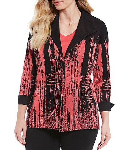 Ming Wang Plus Size One-Button Front Jacket