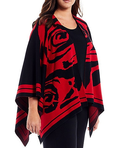 Ming Wang Plus Size Oversized Floral Print Ultra Soft 3/4 Sleeve Knit Wrap