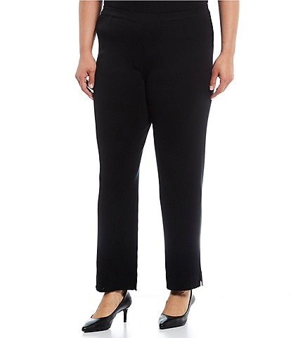 Ming Wang Plus Size Knit Pull-On Ankle Pants