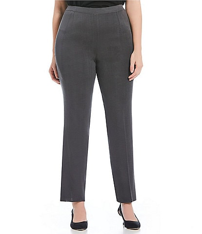 Ming Wang Plus Size Pull-On Basic Pleat Front Straight Leg Pant
