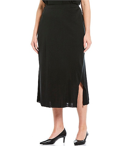 Ming Wang Plus Size Pull-On Midi Skirt