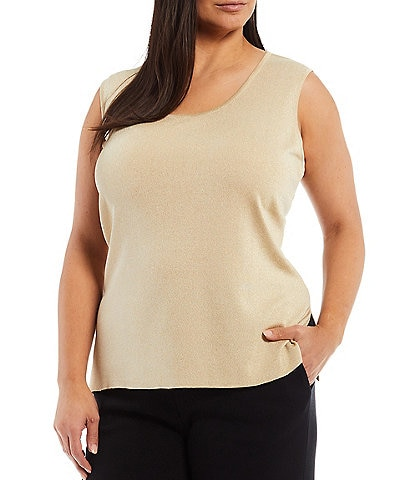 Ming Wang Plus Size Scoop Neck Sleeveless Side Slit Metallic Shimmer Knit Tank