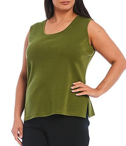 Ming Wang Plus Size Sleeveless Scoop Neck Tank