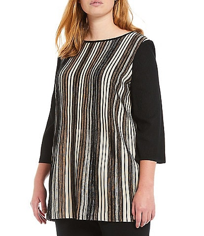 Ming Wang Plus Size Solid and Stripe Rib Knit 3/4 Sleeve Boat Neck Tunic