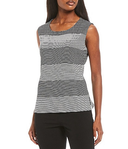 Ming Wang Positive Negative Stripe Knit Scoop Neck Tank