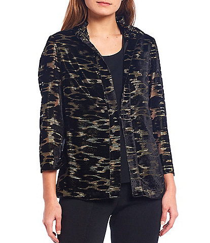 Ming Wang Sheered Stand Collar Animal Print Velvet Jacket