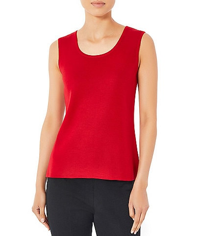 Ming Wang Sleeveless Scoop Neck Side Slit Solid Knit Tank