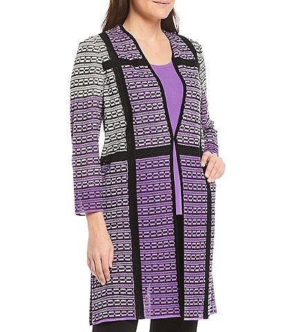 Ming Wang Stand Collar Light Weight Plaid Duster