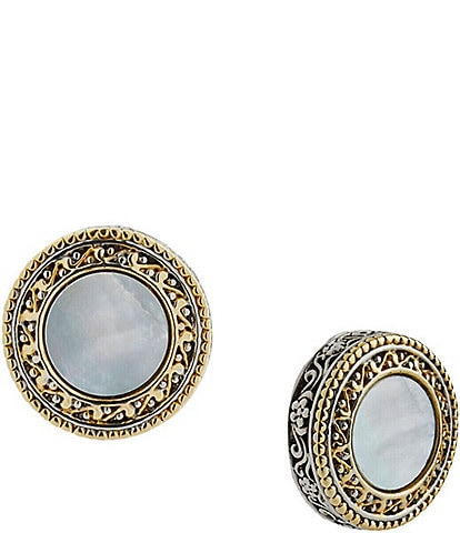 Ming Wang Two Tone Mother-of-Pearl Disc Stud Earrings