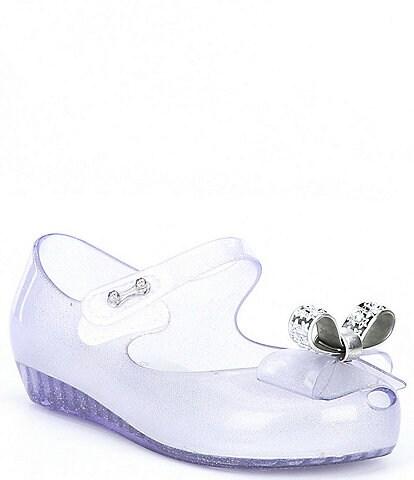 Mini Melissa Girl's Mini Ultra Girl Stars BB Bow Detail Glitter Peep Toe Mary Janes (Toddler)