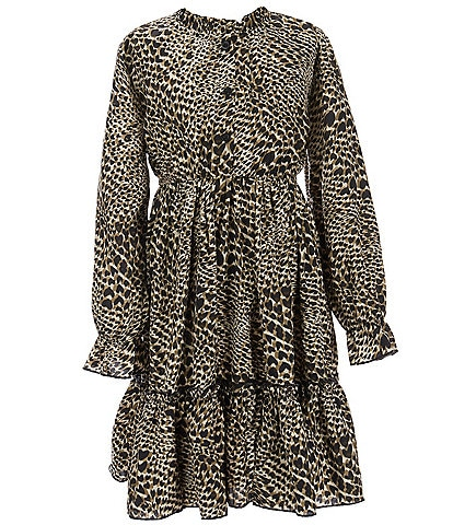 Mini Molly Big Girls 8-16 Long-Sleeve Button-Front Printed Tiered Dress