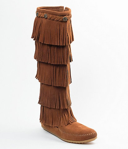 Minnetonka 5-Layer Fringe Suede Boots