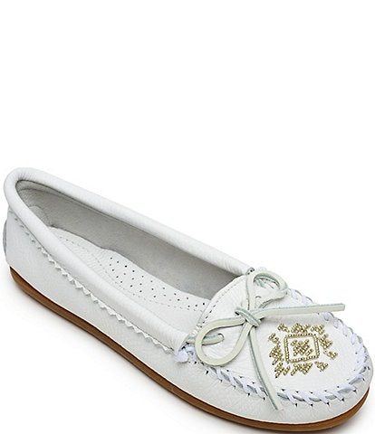 Minnetonka Metallic Beaded Deerskin Moccasins