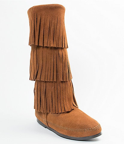 Minnetonka Womens Calf Hi 3-Layer Fringe Boots
