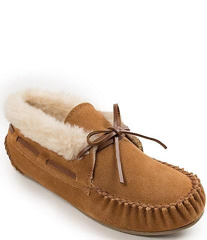 Minnetonka Chrissy Faux Shearling Suede Bootie Slippers