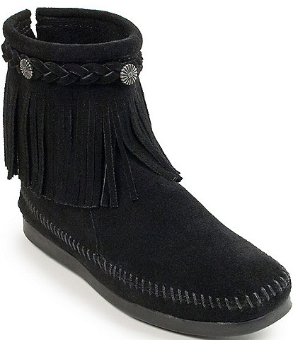 Minnetonka Concho Suede Fringe Boots