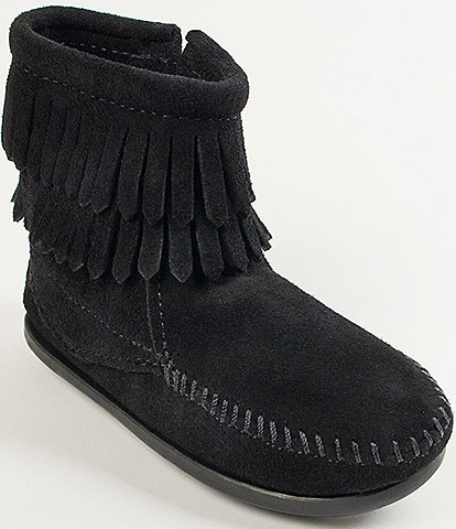Minnetonka Girls' Double Fringe Suede Boots