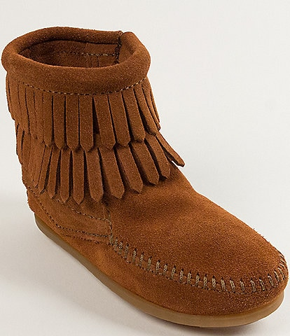 Minnetonka Girls' Double Fringe Suede Boots (Youth)