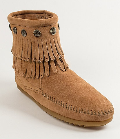 Minnetonka Women's Double-Fringe Suede Booties