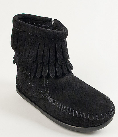 Minnetonka Girls' Double Fringe Suede Boots (Infant)