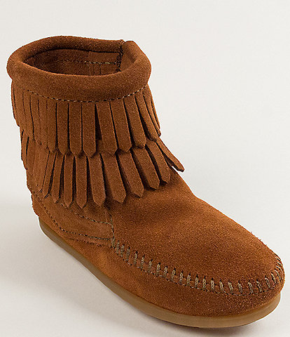 Minnetonka Girls' Double Fringe Suede Boots Toddler