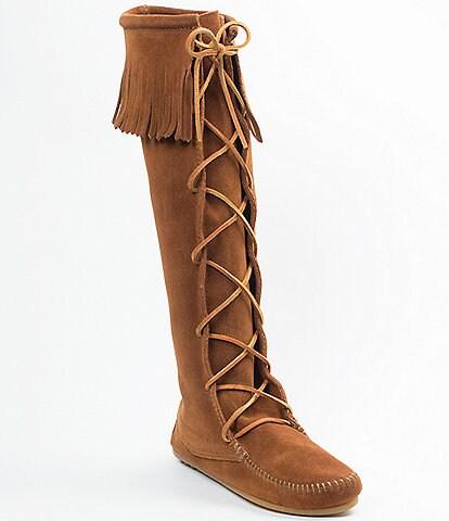 Minnetonka Women's Hardsole Suede Fringe Lace Up Boots