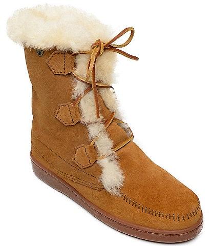 Minnetonka Juniper Lace Up Sheepskin Boots
