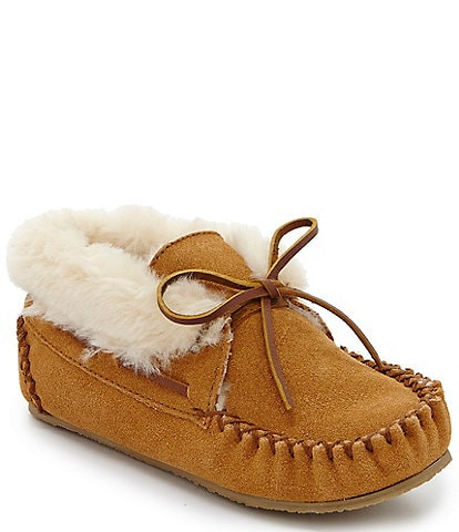 Minnetonka Kids' Charley Suede Faux Fur-Lined Booties (Infant)