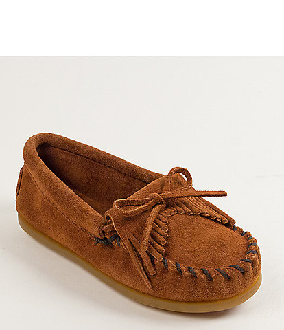 Minnetonka Kids' Kilty Suede Whipstitch Moccasins (Infant)