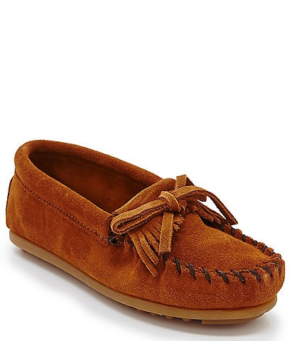 Minnetonka Kids' Kilty Suede Whipstitch Moccasins (Toddler)