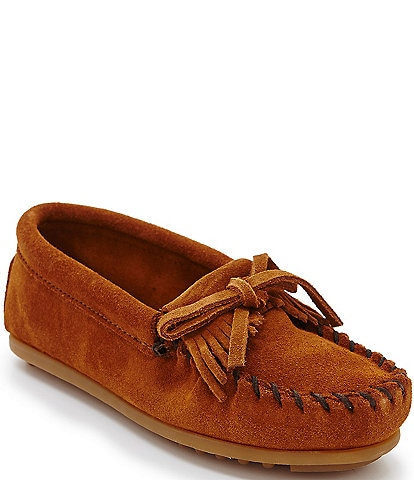Minnetonka Girls' Kilty Suede Whipstitch Moccasins
