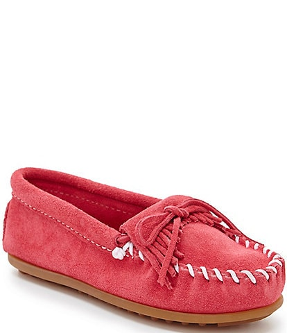 Minnetonka Kids' Kilty Suede Whipstitch Moccasins (Youth)