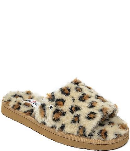 Minnetonka Lolo Leopard Print Faux Fur Slides