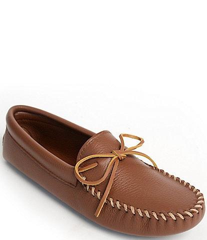 Minnetonka Men's Double Deerskin Leather Softsole Slipper