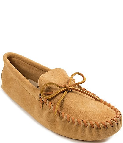 Minnetonka Men's Leather Laced Softsole Slipper