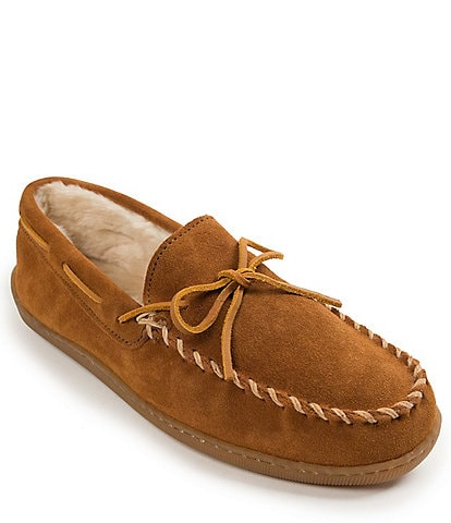 Minnetonka Men's Suede Pile Lined Hardsole Slipper