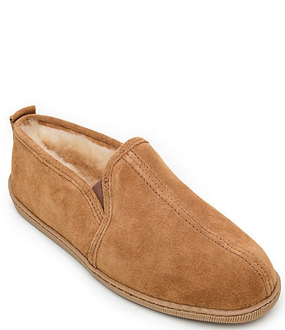 Minnetonka Men's Twin Gore Suede Sheepskin Slipper