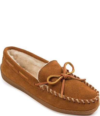 Minnetonka Pile Lined Suede Hardsole Slippers